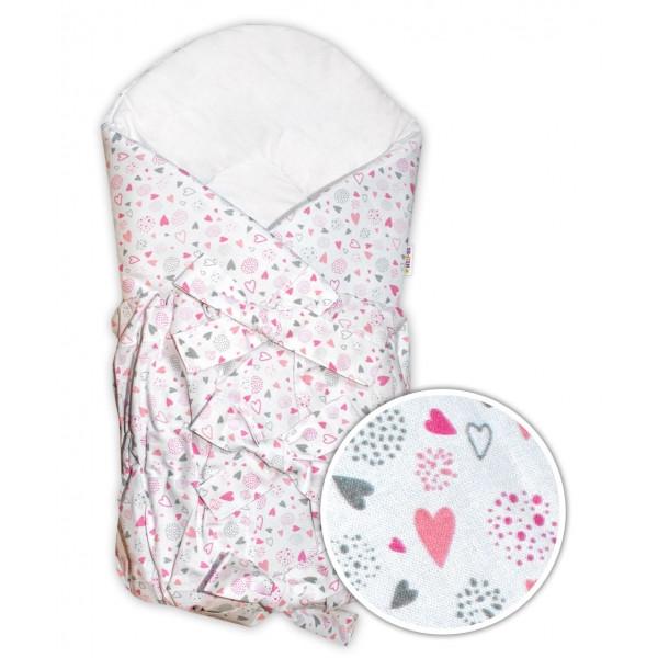 Baby Nellys Zavinovačka šnurovacia Mini Hearts - růžová