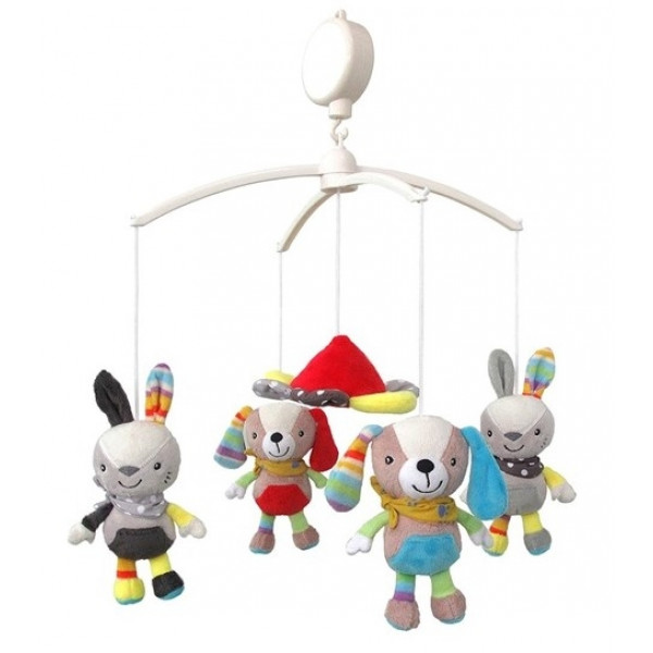BABY MIX Kolotoč nad postieľku - králici a psíci