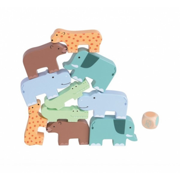 Lelin Drevená skladacia hra - zvieratká, 10ks + hracia kocka