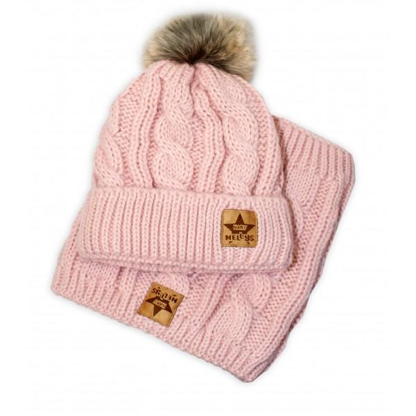 BABY NELLYS Zimná pletená čiapka s brmbolcom + komín, starorůžová