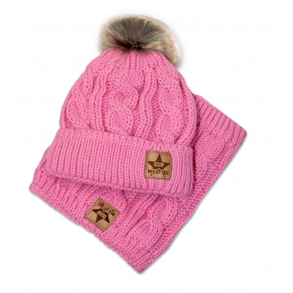 BABY NELLYS Zimná pletená čiapka s brmbolcom + komín, ružová