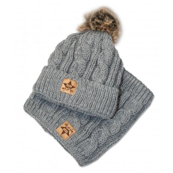 BABY NELLYS Zimná pletená čiapka s brmbolcom + komín, sivá