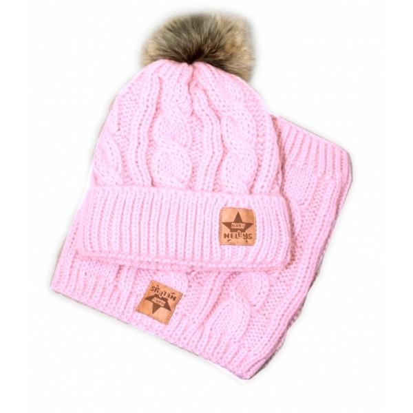 BABY NELLYS Zimná pletená čiapka s brmbolcom + komín, svetlo ružová