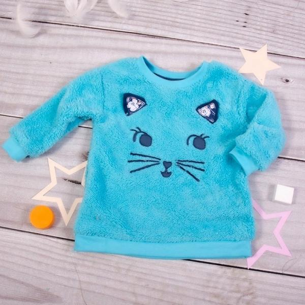 K-Baby Chlupáčková mikina Mačička s uškami - tyrkysová