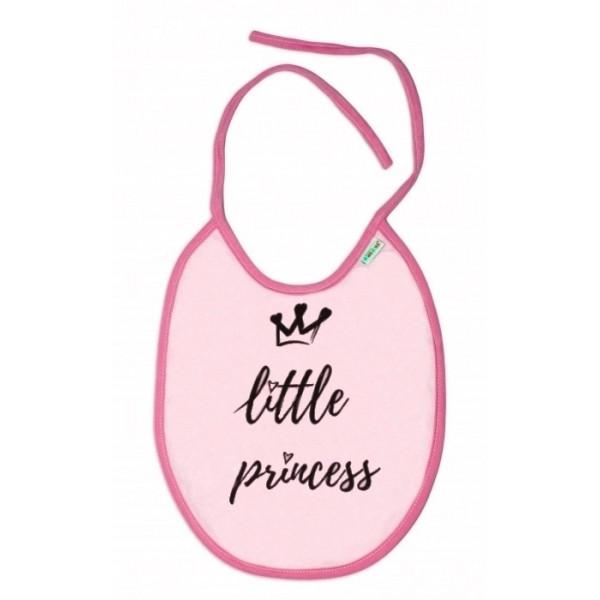 Nepromokavý podbradník, 24 x 23 cm Baby Nellys veľký Little princess - ružová