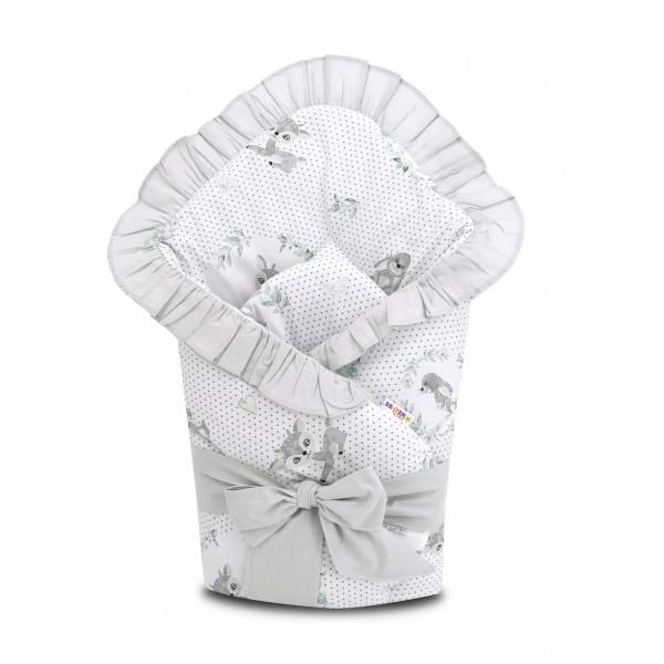 Baby Nellys Rýchlozavinovačka 80 x 80 cm s volánikom a stuhou - Koloušek, šedá