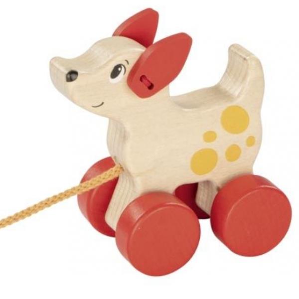 Goki Edukačná drevená hračka 10,5 cm ťahacie - Psík