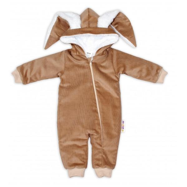 Baby Nellys Menčestrová kombinézka /overal s kožušinkou Cute Bunny - béžová