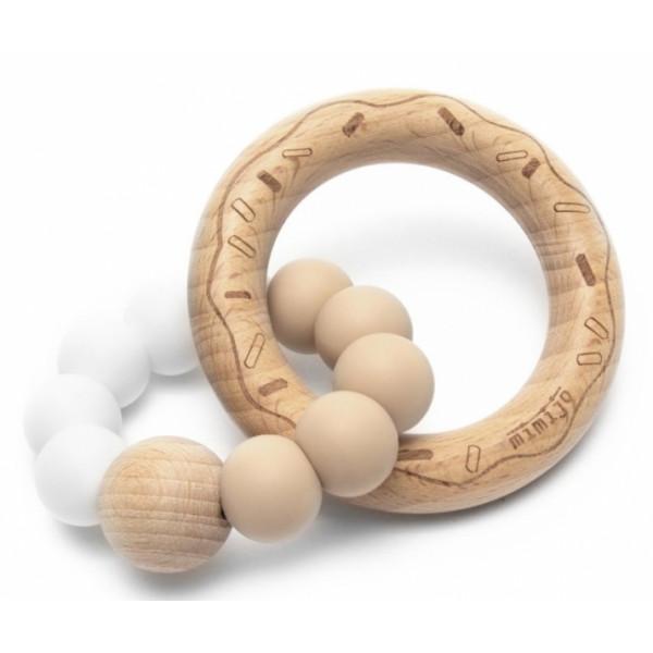 Mimijo Silikónové hryzátko Donut - bielo/bežový