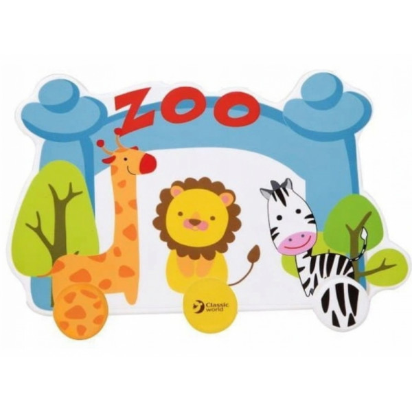 Classic world Drevený detský vešiak - Zoo