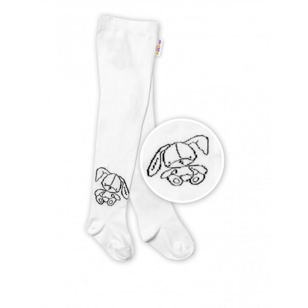 Baby Nellys Detské bavlnené pančuchy Cute Bunny - biele