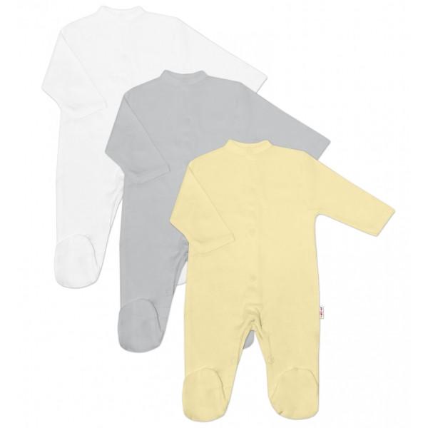 Baby Nellys Dojčenská neutr. sada Overalu BASIC - žltá, sivá, biela - 3 ks