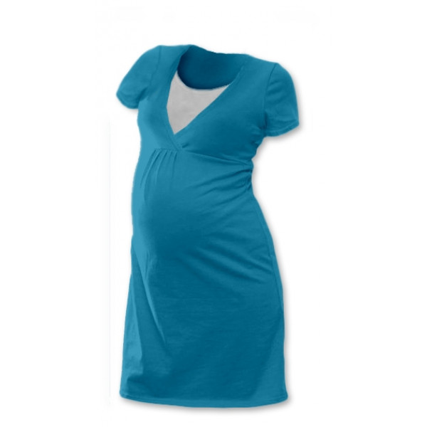 JOŽÁNEK Tehotenská, dojčiace nočná košeľa JOHANKA krátky rukáv - petrolejová