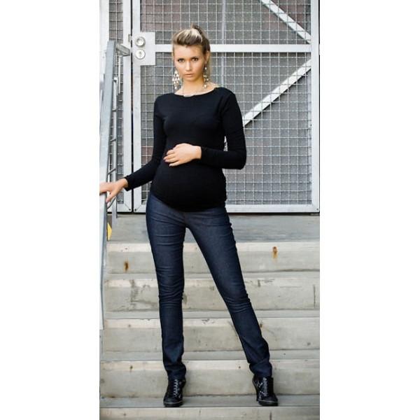 Be MaaMaa Tehotenské nohavice JEANS - Čierny jeans