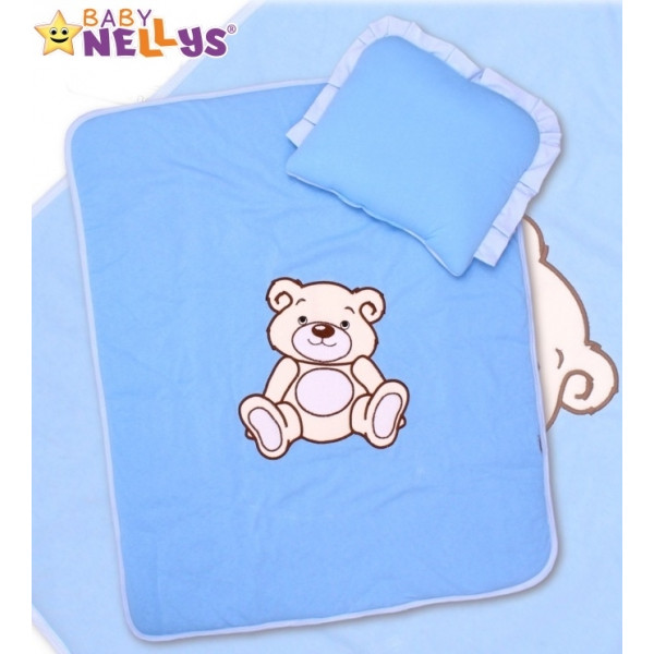 Baby Nellys Sada do kočíka jersey Medvedík Teddy - modrá