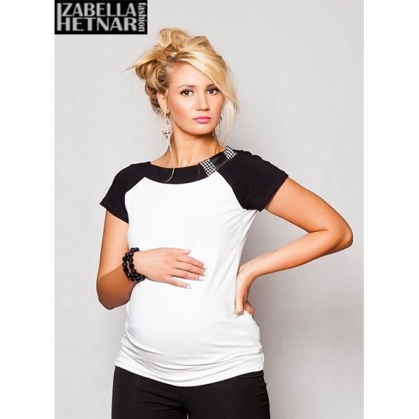 Be MaaMaa Tehotenské tričko / blúzka Kristal - biela