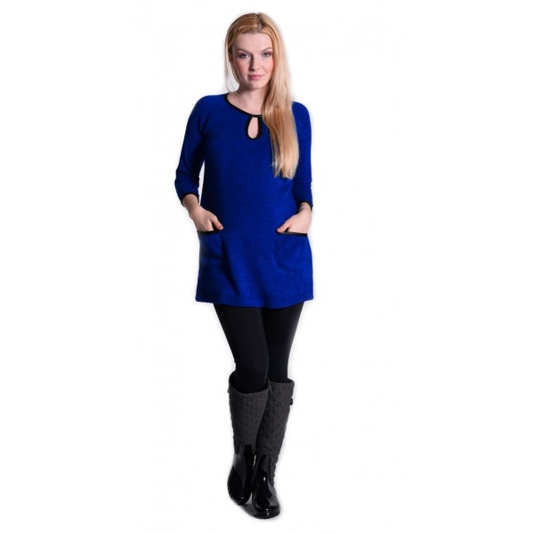 Be MaaMaa Tunika, šaty 3/4 rukáv - sýto tm.modrá