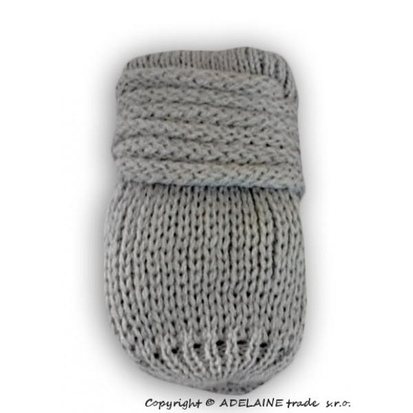 BABY NELLYS Zimné pletené dojčenské rukavičky - sv. šedé