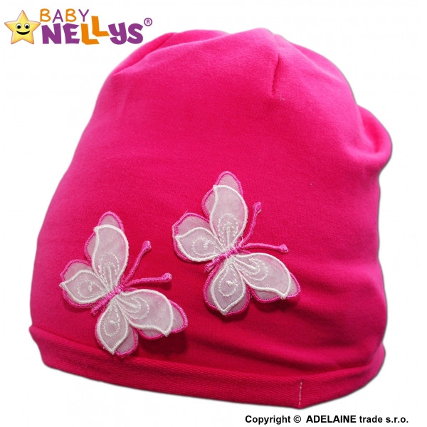 Bavlnená čiapočka Motýliky Baby Nellys ® - tm. ružová
