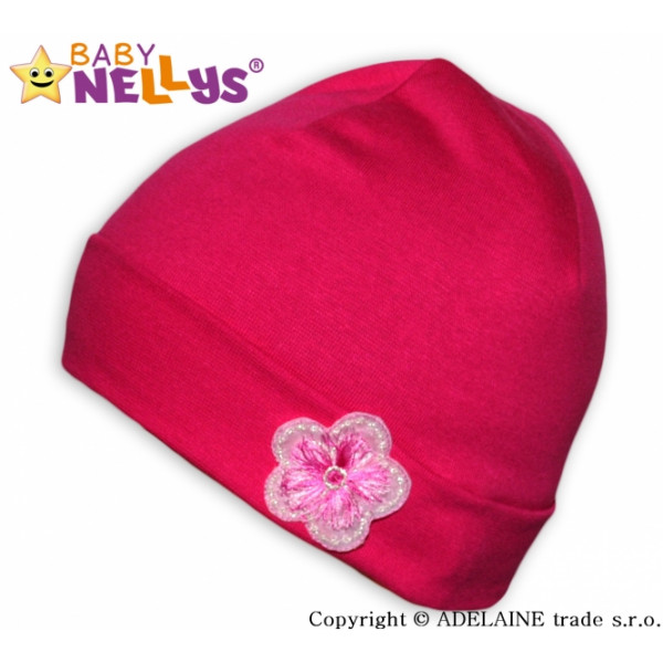 Bavlnená čiapočka Baby Nellys ® - Ružová s kytičkou