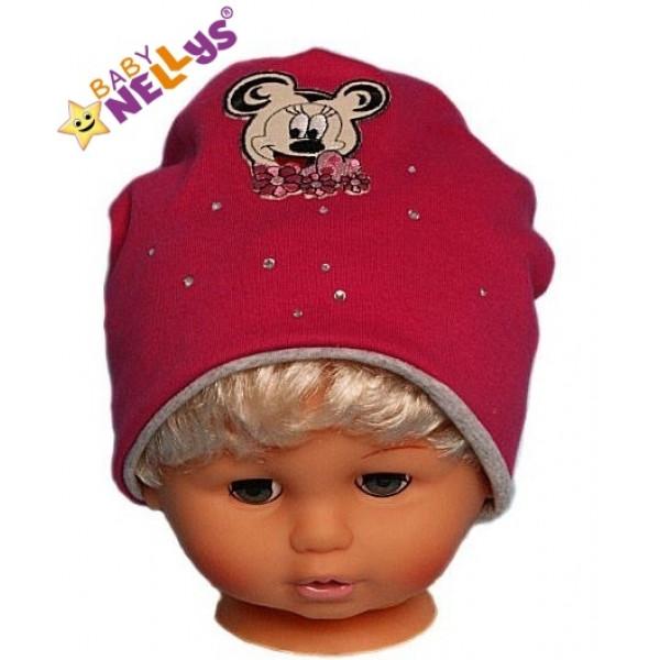 Bavlnená čiapočka Myška s kamienkami Baby Nellys ® - sýto ružová