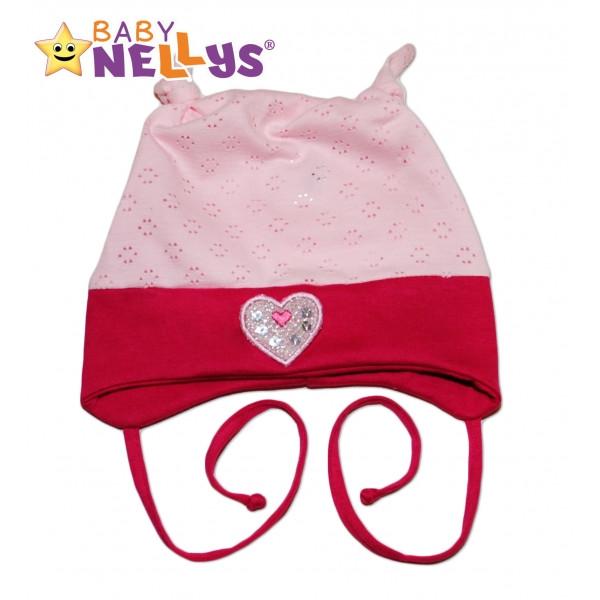 Bavlnená čiapočka Srdiečko Baby Nellys ® - sv.ružová / tm. ružová
