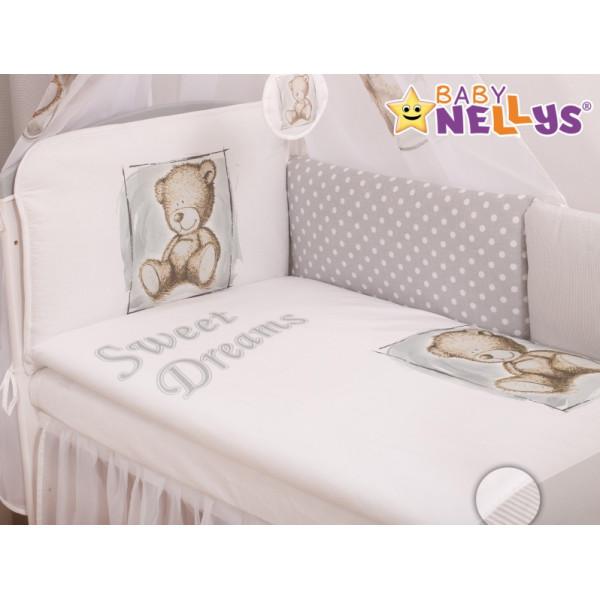 Baby Nellys Mantinel 360 cm s obliečkami Sweet Dreams by Teddy - sivý