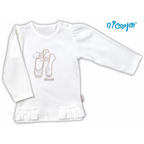 Bavlnené tričko/blúzka NICOL BALETKA dlhý rukáv - smotanová