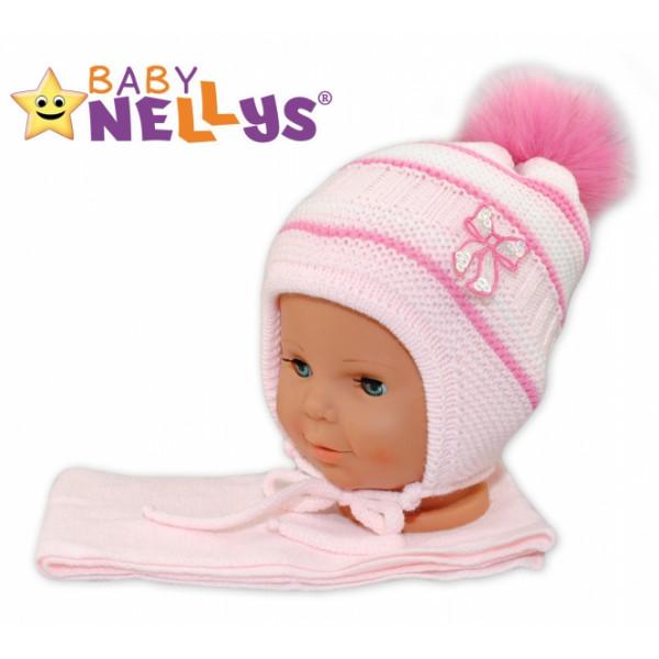 BABY NELLYS Zimná čiapočka s šálom - Mašlička - ružová s pruhmi, chlupáčková bambulka