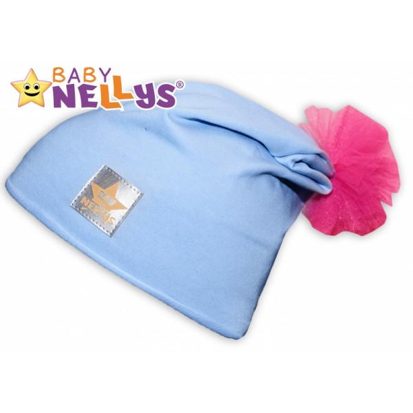 Bavlnená čiapočka Tutu květinka Baby Nellys ® - sv. modrá