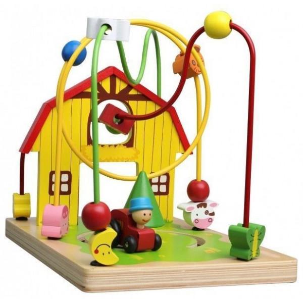 Lelin Edukačná drevená hračka labyrint 25,5 cm - Farma