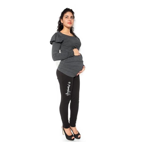 Be MaaMaa Tehotenské tepláky, nohavice MOM life - čierne