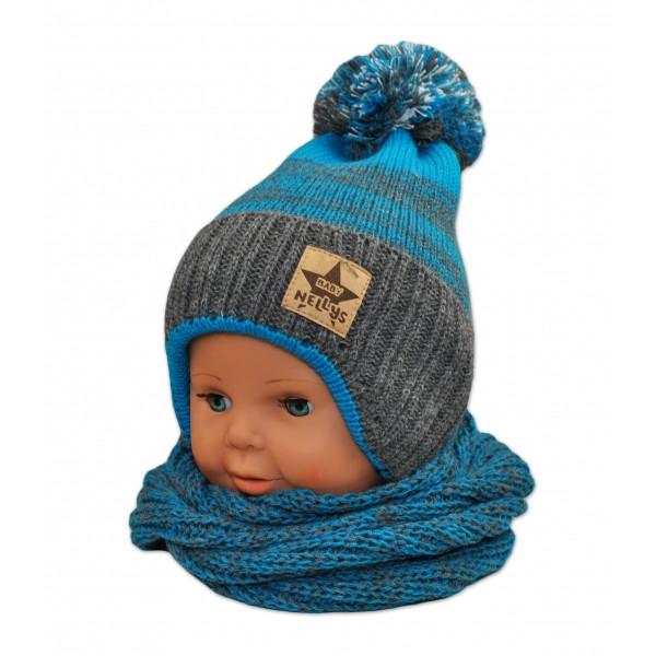 BABY NELLYS Zimná čiapočka s komínom - tyrkys/grafit