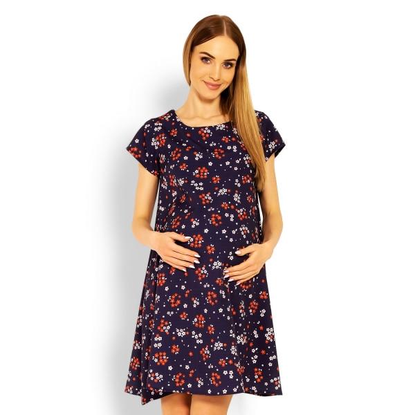 Be MaaMaa Elegantné voľné tehotenské šaty, tunika, kr. rukáv - printy kvetinky