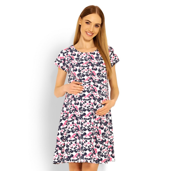 Be MaaMaa Elegantné voľné tehotenské šaty, tunika, kr. rukáv - cleo