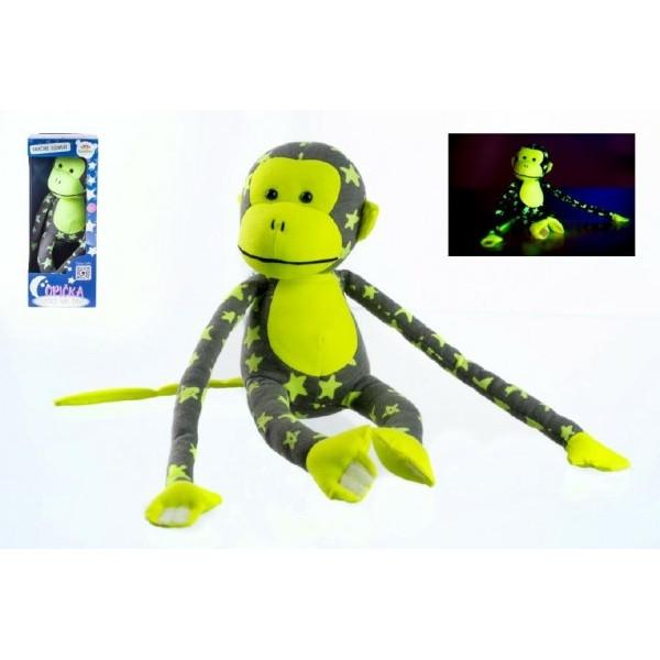 Teddies Opica svietiace v tme plyš 45x14cm sivá/žltá v krabici