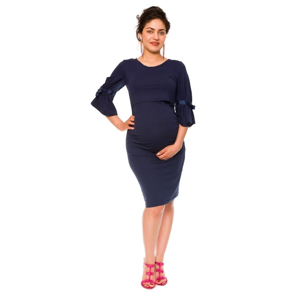 Be MaaMaa Elegantné tehotenské a dojčiace šaty Barbara - granát