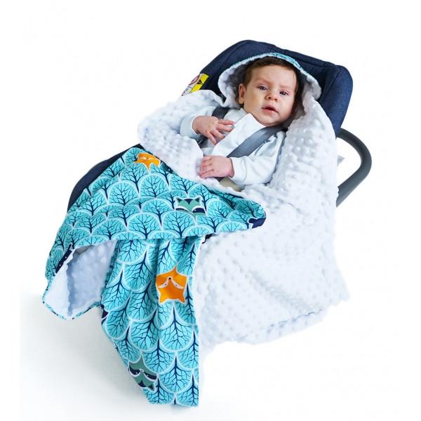 Baby Nellys Luxusná bavlnená dečka 3v1 s Minky, 90 x 90 cm, lesík, Minky - biela