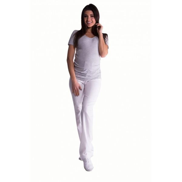 Be MaaMaa Bavlnené, tehotenské nohavice s regulovateľným pásom - biele