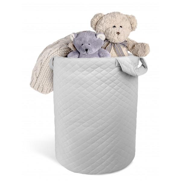 Box na hračky Velvet lux miminu, prešívaný - šedý