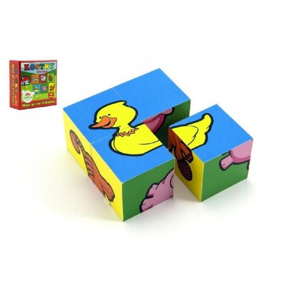 Teddies Kocky kubus Moje prvé zvieratká drevo 4ks v krabici