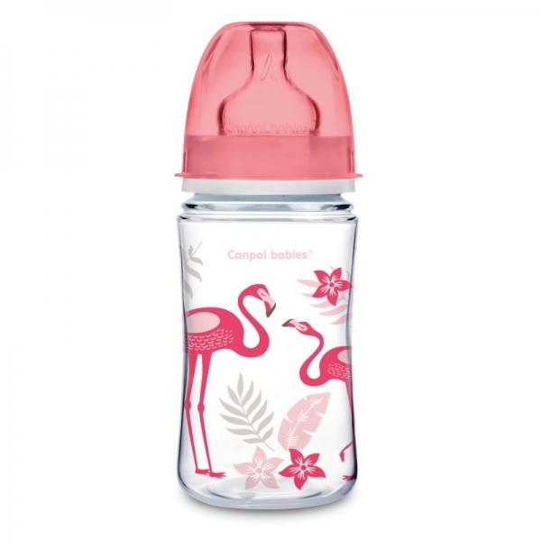 Canpol babies Antikoliková fľaštička 240 ml Jungle - Plameniaky, 1 ks