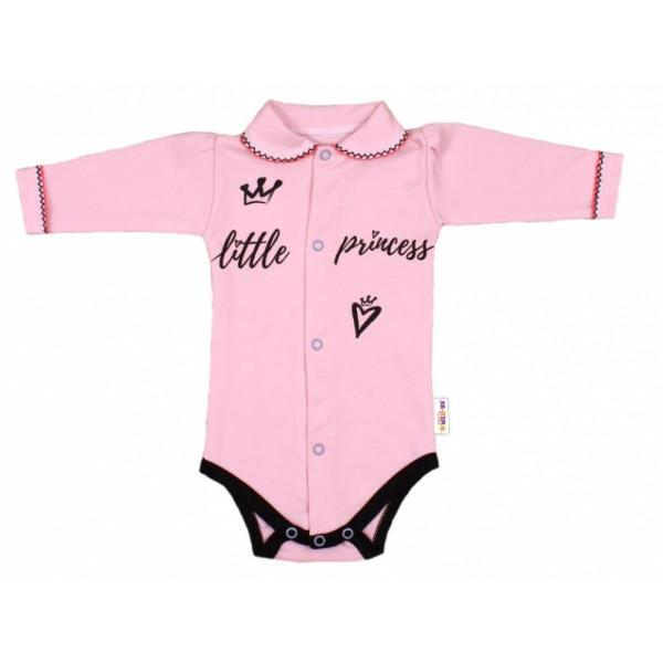 Baby Nellys Body dlhý rukáv s golierikom, ružové Little Princess