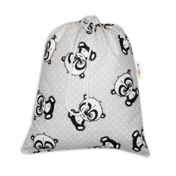 Baby Nellys Vrecko na prezúvky Panda - šedý