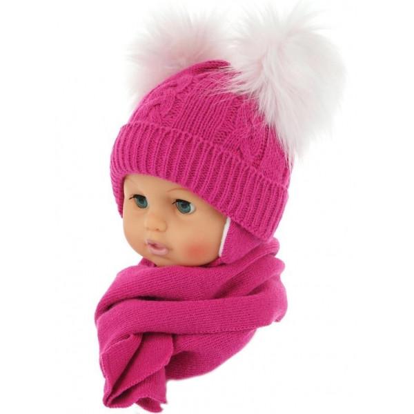 BABY NELLYS Zimná čiapočka s šálom - chlupáčkové bambuľky - malinová