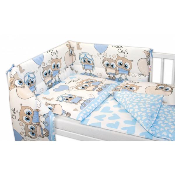 Baby Nellys 3- dielná sada mantinel s obliečkami Cute Owls - modrá