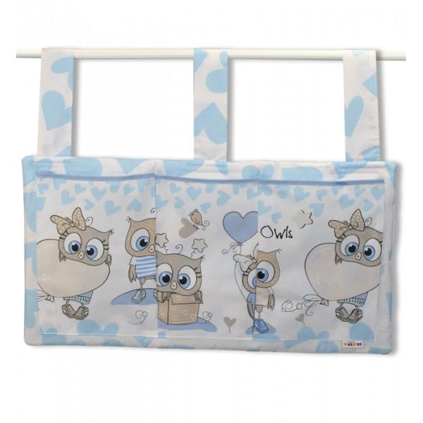 Baby Nellys  Vreckár na postieľku Cute Owls - modrý