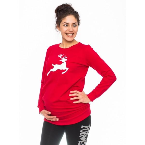 Be MaaMaa Tehotenské triko, mikina Renifer - červené