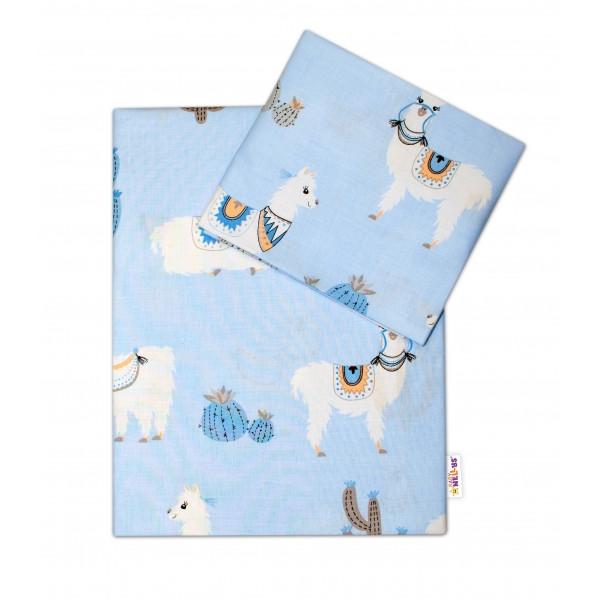 Baby Nellys 2-dielne bavlnené obliečky Lama, modré