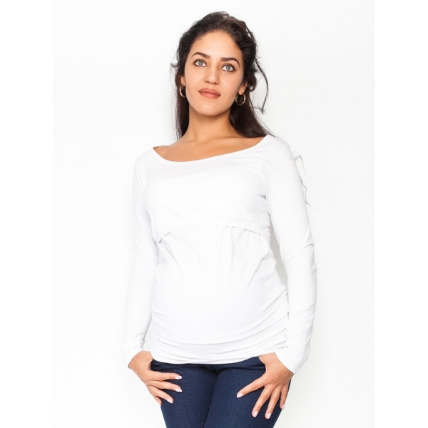 Be MaaMaa Tehotenské, dojčiace tričko / blúzka dlhý rukáv Siena - biela